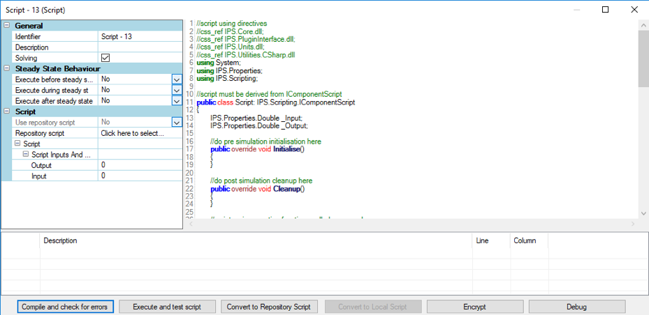 Script editor with added debugging