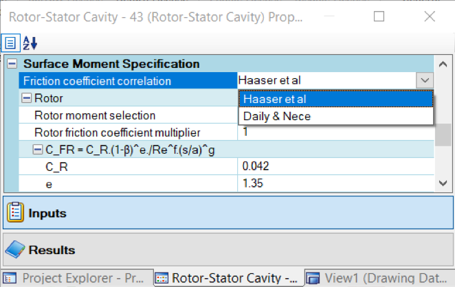 Friction Coefficient Correlation Options